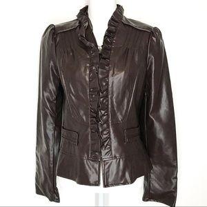 Faux Leather Soft Brown Crop Blazer Size Medium